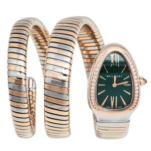 Bvlgari Green 18k Rose Gold Stainless Steel Diamonds Serpenti Tubogas 102791 Women's Wristwatch 23mm