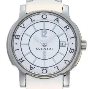 Bvlgari White Stainless Steel Solo Tempo ST29S Women's Wristwatch 29 MM