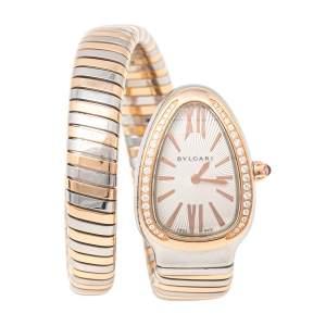 Bvlgari Silver White 18K Rose Gold Stainless Steel Diamonds Serpenti Tubogas 102237 Women's Wristwatch 35 mm