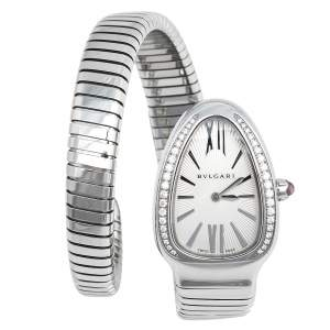 Bvlgari Silver Opaline Guilloché Soleil Stainless Steel Diamond Serpenti Tubogas 101816 Women's Wristwatch 23 mm