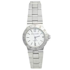 Bvlgari White Stainless Steel Diagono Automatic Women's Wristwatch 29 mm