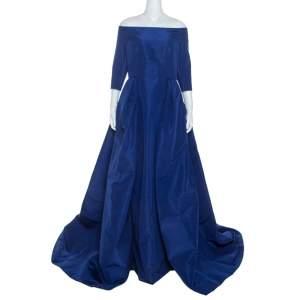 Carolina Herrera Blue Silk Off Shoulder Gown XL
