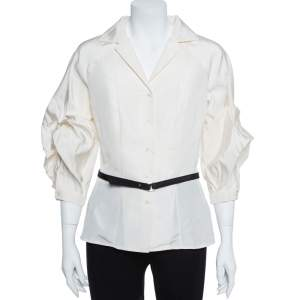 Carolina Herrera Ivory White Silk Faille Blouse M