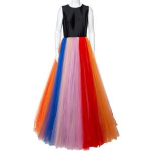 Carolina Herrera Multicolor Tulle Sleeveless Gown M