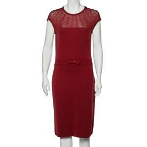 CH Carolina Herrera Burgundy Wool Knit Bow Detail Sleeveless Dress L