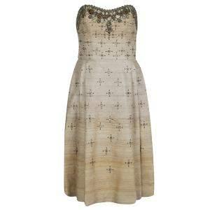 Carolina Herrera Beige Ombre Raw Silk Embellished Strapless Dress M