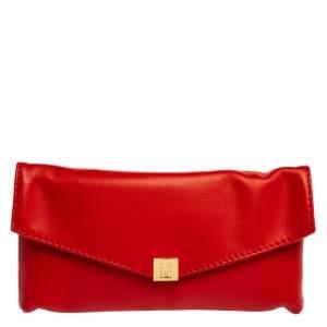 Carolina Herrera Red Leather Envelope Clutch