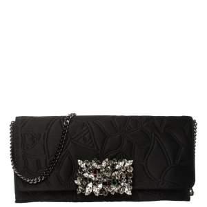 Carolina Herrera Black Satin Crystal Embellished Clutch