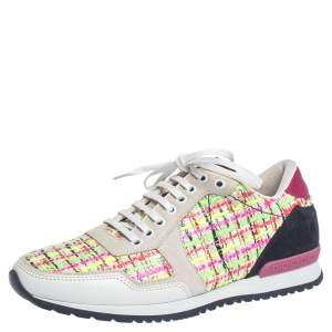 Carolina Herrera Multicolor Tweed, Leather And Suede Low Top Sneakers Size 41