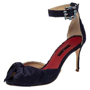 Carolina Herrera Navy Blue Lace And Satin Bow Ankle Strap Sandals Size 38