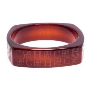 Carolina Herrera Tan Brown Logo Etched Wide Bangle Bracelet