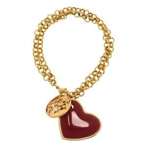 Carolina Herrera Heart Gold Tone Chain Link Bracelet