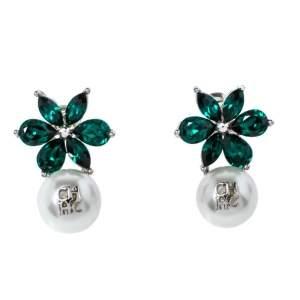 Carolina Herrera Green Crystal Jasmine Drop Earrings