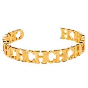 Carolina Herrera Gold Tone Between the Line Open Cuff Bracelet