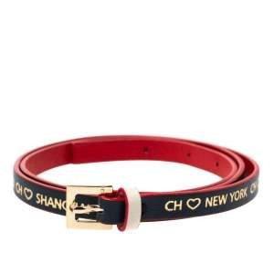 CH Carolina Herrera Bi Color Leather Gold Tone Wrap Bracelet
