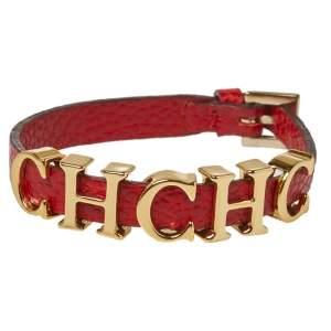 CH Carolina Herrera Red Leather Gold Tone Logo Charm Bracelet