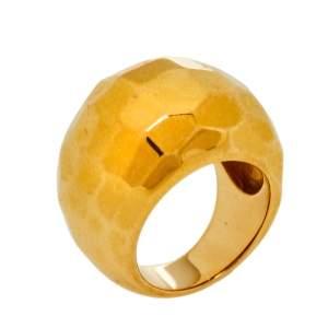 Carolina Herrera Gold Tone Textured Dome Cocktail Ring Size EU 56