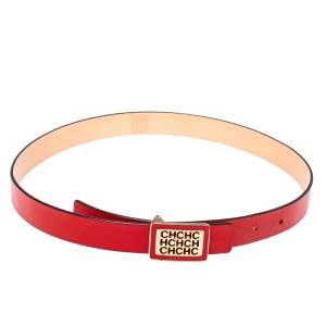 Carolina Herrera Red Leather Logo Belt 80CM
