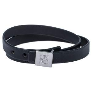 Carolina Herrera Black Leather Brushed Silver Tone Double Wrap Bracelet