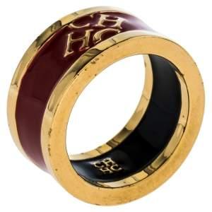 Carolina Herrera Red Enamel Logo Gold Tone Band Ring Size 56