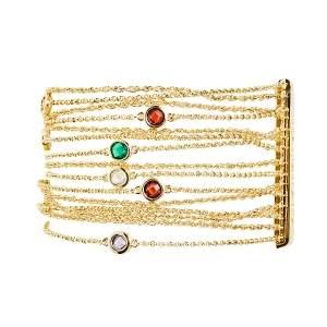 Carolina Herrera Gold Tone Crystal Embedded Multi Strand Chain Bracelet