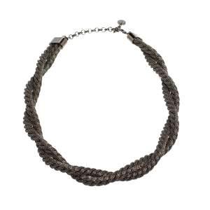 Carolina Herrera Double Strand Twisted Gunmetal Tone Rope Necklace
