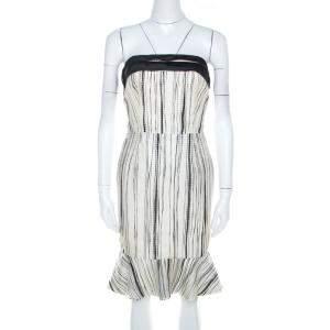 Carolina Herrera Monochrome Irregular Striped Silk Strapless Flounce Dress S