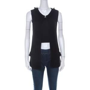 CH Carolina Herrera Black Chunky Knit Merino Wool Fringed Sleeveless Cardigan XS