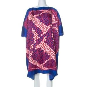 Carolina Herrera Blue & Red Printed Silk Midi Kaftan S