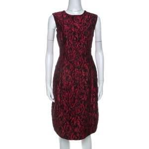 Carolina Herrera Red Floral Patterned Jacquard Sleeveless Sheath Dress L