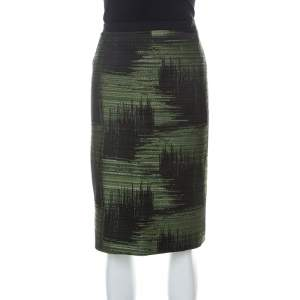 Carolina Herrera Green and Black Jacquard Skirt XL