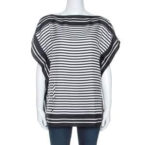 Carolina Herrera Monochrome Striped Silk Kaftan Top XS