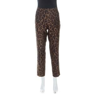 CH Carolina Herrera Bicolor Leopard Pattern Jacquard Tapered Pants L