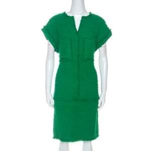 CH Carolina Herrera Green Boucle Knit Drop Waist Dress M