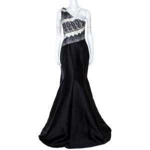 Carolina Herrera Monochrome Lace Print Silk One Shoulder Evening Gown M