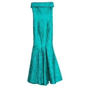 Carolina Herrera Green Jacquard Strapless Mermaid Gown S