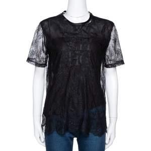CH Carolina Herrera Black Lace Logo Applique Crew Neck Short Sleeve Top XS