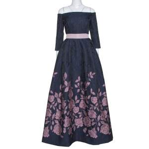 Carolina Herrera Navy Blue Floral Jacquard Off Shoulder Gown L