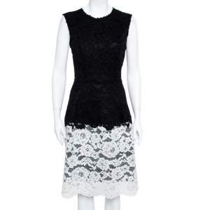Carolina Herrera Back & White Lace Cotton Flared Dress L