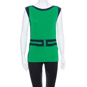CH Carolina Herrera Green Knit Contrast Trim Bow Detail Sleeveless Top M