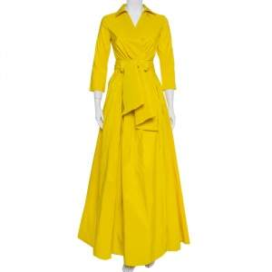CH Carolina Herrera Yellow Pleated Maxi Wrap Dress S