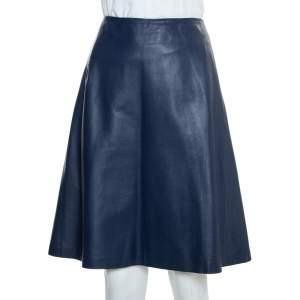 Carolina Herrera Navy Blue Leather A-Line Skirt L