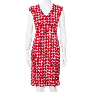 CH Carolina Herrera Red Tweed Sleeveless Sheath Dress M