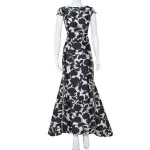 CH Carolina Herrera Monochrome Printed Scoop Back Sleeveless Gown L