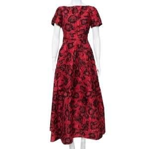 CH Carolina Herrera Red & Black Floral Crinkled Brocade Flared Maxi Dress L