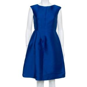 CH Carolina Herrera Royal Blue Silk Draped Detail Flared Dress S