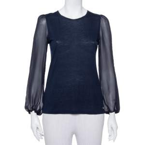 CH Carolina Herrera Navy Blue Wool & Silk Top XS