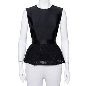 CH Carolina Herrera Black Satin & Lace Belted Peplum Top M
