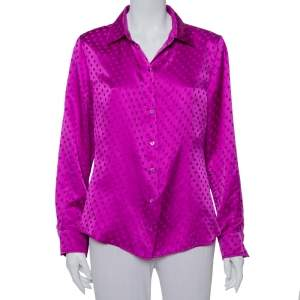 CH Carolina Herrera Purple Polka Dot Silk Button Front Shirt XL
