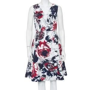 Carolina Herrera Multicolor Abstract Printed Textured Cotton Sleeveless Midi Dress M